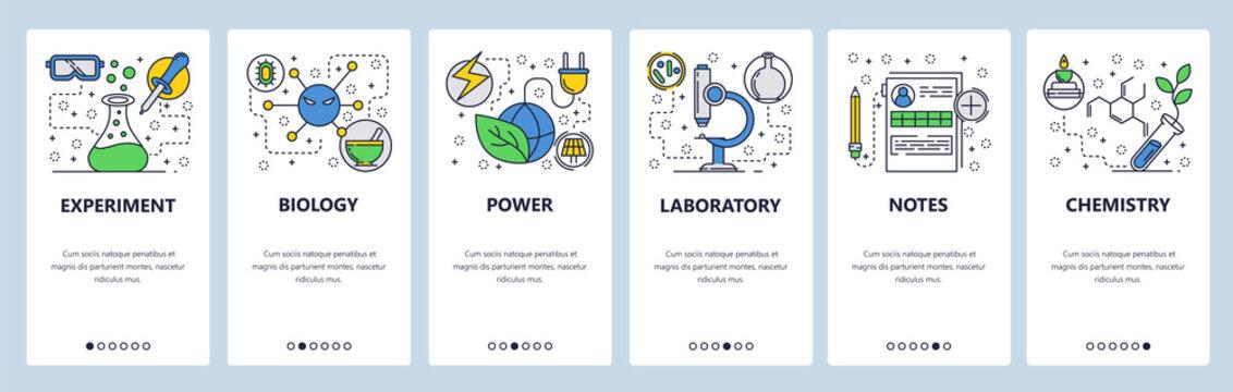 Web site onboarding screens. Science experiment in lab. Chemisty, biology. Menu vector banner template for website and mobile app development. Modern design linear art flat illustration.