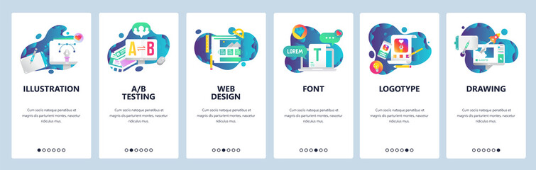 Web site onboarding screens. Graphic design, web and logotype design, computer fonts. Menu vector banner template for website and mobile app development. Modern design linear art flat illustration.