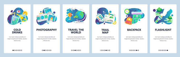Web site onboarding screens. Holiday travel icons, camping and outdoor hiking, travel the world. Menu vector banner template for website and mobile app development. Modern design linear art flat