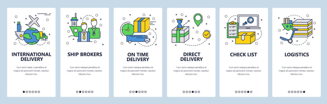 Web site onboarding screens. Worldwide delivery and cargo service. Menu vector banner template for website and mobile app development. Modern design linear art flat illustration.