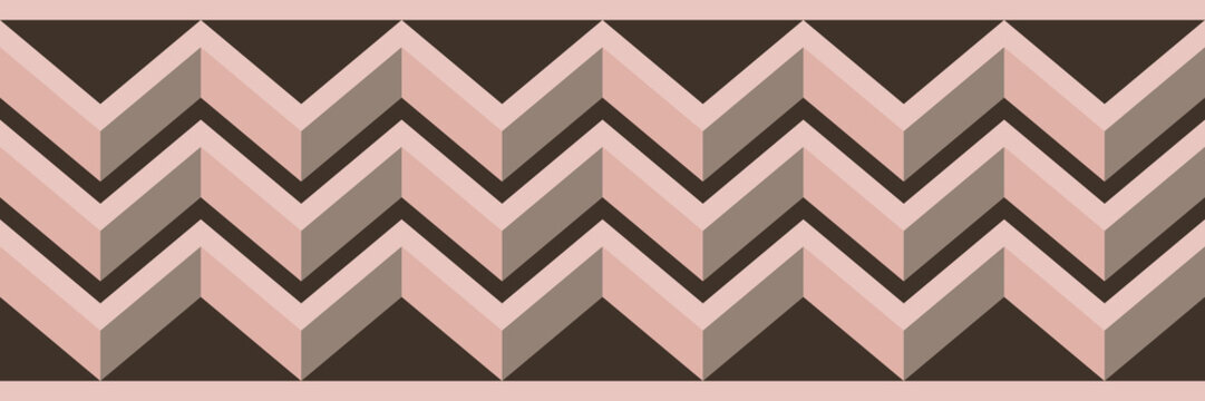 Seamless vector chevron border with a 3D look. Modern, decorative, horizontal zig zag stripes in brown and pink. Bold geometric, good for graphic design, product packaging, ribbon, and home decor use.