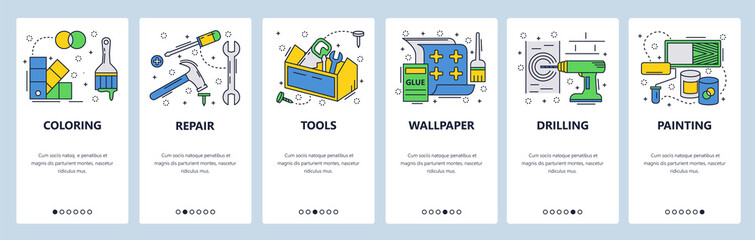 Web site onboarding screens. Hardware tools, house repair, wallpaper, painting. Menu vector banner template for website and mobile app development. Modern design linear art flat illustration.