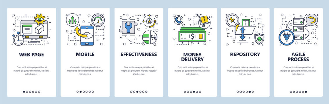 Web site onboarding screens. Repository, agile process . Menu vector banner template for website and mobile app development. Modern design linear art flat illustration.