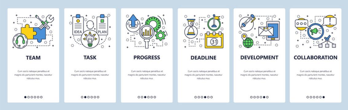 Web site onboarding screens. Task progress and deadline. Menu vector banner template for website and mobile app development. Modern design linear art flat illustration.