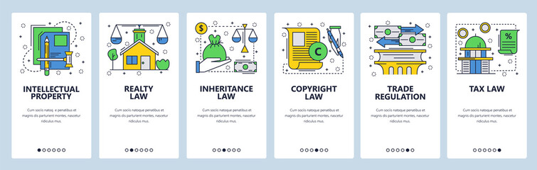 Web site onboarding screens. Law icons, copyright, intellectual property, trade, taxes and financial law. Menu vector banner template for website and mobile app development. Modern design linear art
