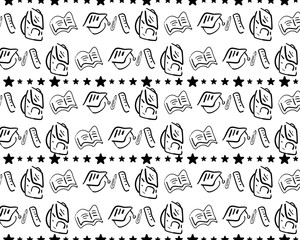 Vector seamless pattern with hand drawn school doodle icons