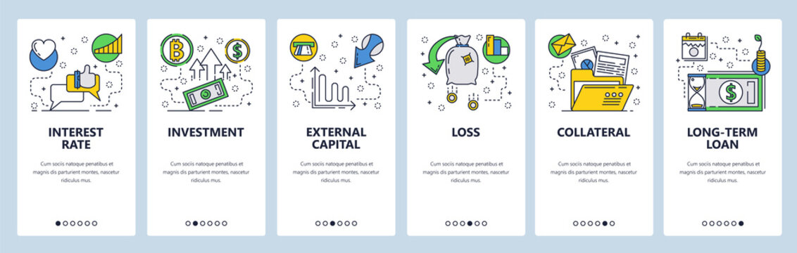 Web site onboarding screens. Finance, banking, investment, money flow. Menu vector banner template for website and mobile app development. Modern design linear art flat illustration.