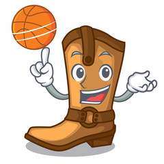 With basketball cowboy boots in the shape cartoon