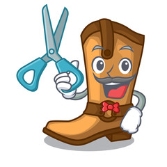 Barber cowboy boots in the shape cartoon