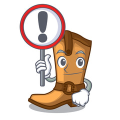 With sign cowboy boots in the shape cartoon