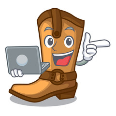 With laptop cowboy boots in the shape cartoon