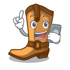 With phone cowboy boots in the shape cartoon