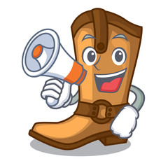 With megaphone cowboy boots in the shape cartoon