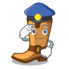 Police cowboy boots in the shape cartoon