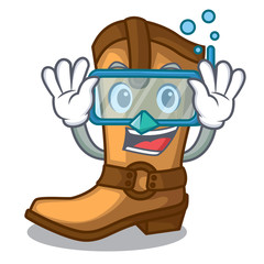 Diving cowboy boots isolated in the mascot