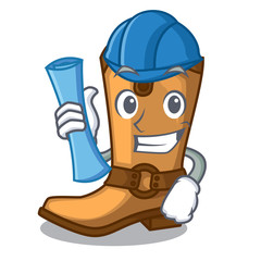 Architect cowboy boots isolated in the mascot