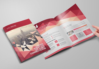 Red Geometric Bifold Brochure Layout