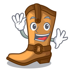 Waving cowboy boots isolated in the mascot