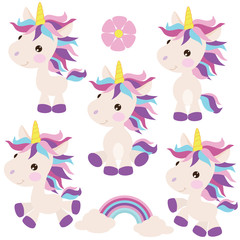Unicorn vector cartoon illustration