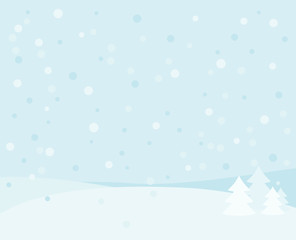 Winter background with tree and snow. Christmas blue landscape.