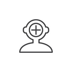 Add human mind outline icon. linear style sign for mobile concept and web design. Human head with plus simple line vector icon. Symbol, logo illustration. Pixel perfect vector graphics