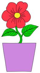 Flower in a pot. Plant in a flowerpot. Cartoon style.