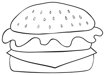 Hamburger coloring page. Hand drawn style.