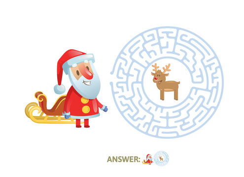 Winter Maze Labyrinth Game with answer. Help Santa find the way out of the Labyrinth. Colorful flat vector illustration. Isolated on white background.