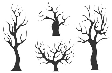 Old black trees without leaves. Set of old black trees isolated on white background. A collection of trees without leaves.