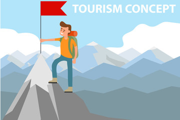 A man sets the flag on the top of the mountain. Tourist climbed to the top with a red flag. Vector illustration of tourism concept.
