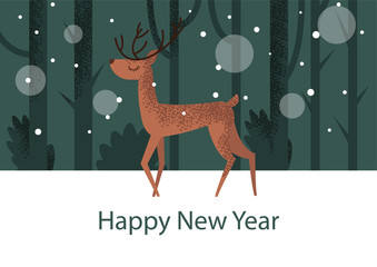 Flat illustration with deer standing