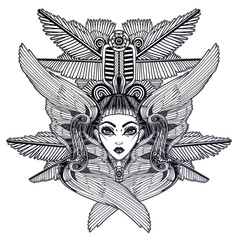 Portrait of the ancient Egyptian winged goddess.