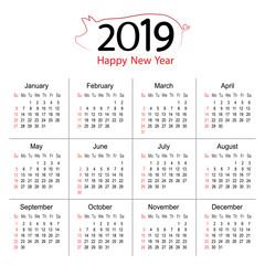 2019 Year Calendar Planner of Pig Vector Design template