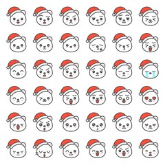 Santa bear emotion face in various expession, editable line icon