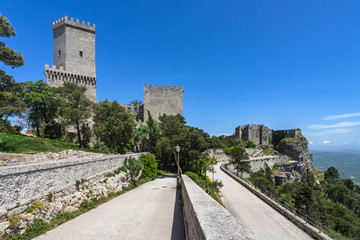 The medieval Venus Castle is the most famous building in Erice, built in 12th century during Norman period, Sicily, Italy