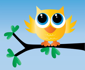 a adorable little yellow owl sitting on a branch