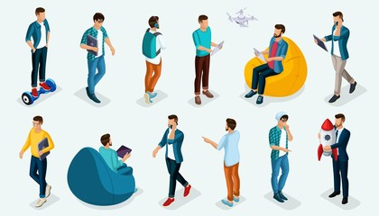 Trendy isometric vector people, 3d person teenagers, modern young people and gadgets, freelancers, startup, coworking, office work, entrepreneur isolated on a light