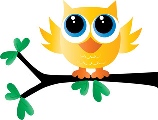 a sweet little yellow owl sitting on a branch