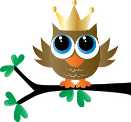 a sweet little brown owl with a golden crown