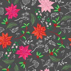 Seamless Pattern Christmas Decoration with Poinsettia flowers