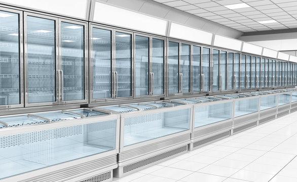 Interior empty supermarket with  showcases freezer. 3d illustration