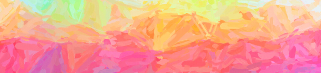 Illustration of abstract Orange, Pink And Red Impressionist Impasto Banner background.