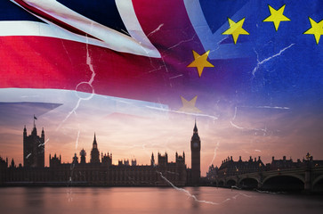No Deal Brexit conceptual image of cracks over image of London with UK and EU flags in image