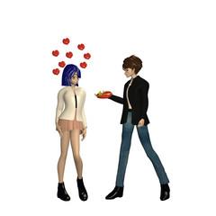 verliebter Mann schenkt einem Mädchen Pralinen. Figuren im Manga-Stil. 3d rendering isoliert auf weiß