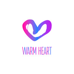 Colorful love icon.  Warm logotype heart in vector hand drawing style with gradient.