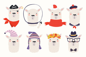 Foto auf Leinwand Abbildungen Big set of cute funny different llamas in hats and glasses. Isolated objects on white background. Hand drawn vector illustration. Scandinavian style flat design. Concept for children print.