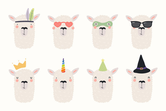Big set of cute funny different llamas in hats and glasses. Isolated objects on white background. Hand drawn vector illustration. Scandinavian style flat design. Concept for children print.