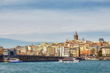A picturesque view of Istanbul and the Galata Tower from the side of the Bay of Bosphorus