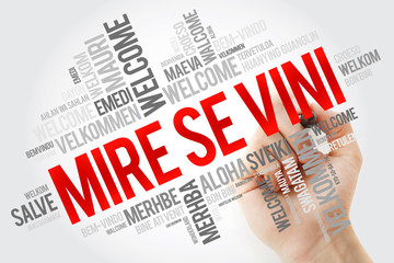 Mire se vini (Welcome in Albanian) word cloud in different languages, conceptual background with...