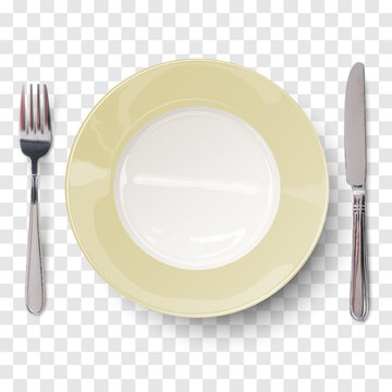 Empty plate in ivory white design with knife and fork isolated on transparent background. View from above. Vector illustration.